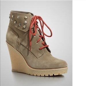Guess Hannela Suede Studded Wedge Booties Brown 6